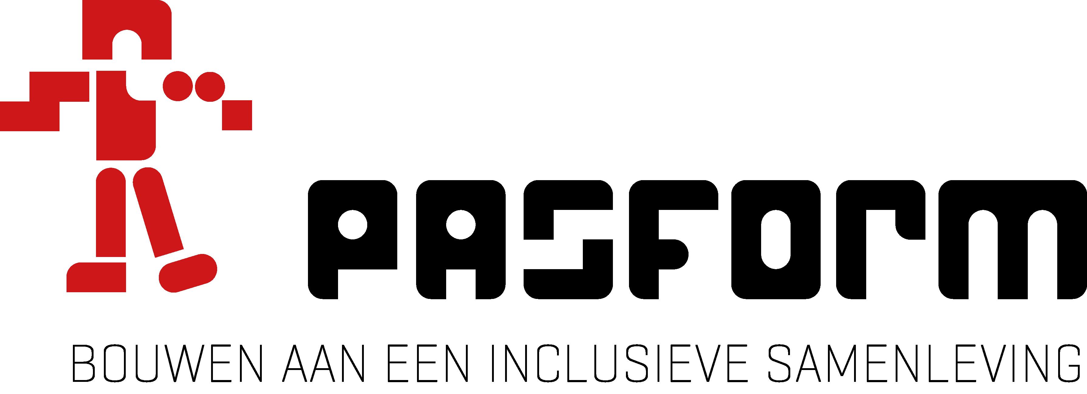 Een rood mannetje kijkt naar de letters die het woord pasvorm vormen en onder de afbeelding staat Bouwen aan een inclusieve samenleving