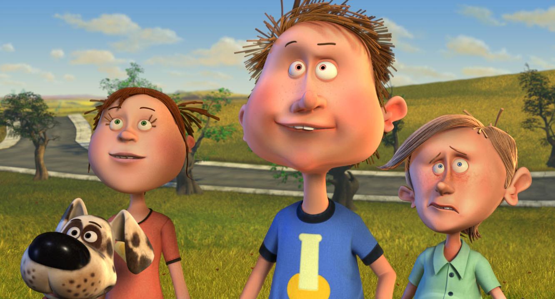 Viktor, Braadworst en twee vrienden van Viktor staan buiten in een veld. Ze kijken omhoog.