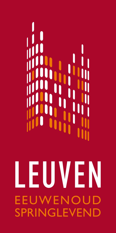 Logo van de stad Leuven. In minuscule rechthoekjes werd het stadhuis van Leuven nagebootst. Daaronder staat de tekst Leuven: eeuwenoud, springlevend